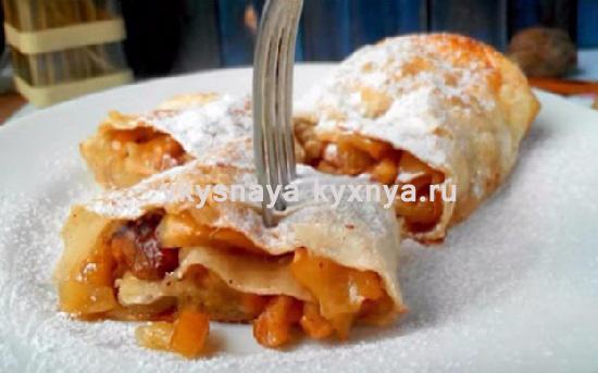 Как приготовить яблочный штрудель из лаваша