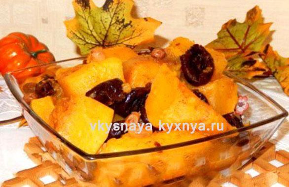 Тыква, запеченная с медом и яблоками в мультиварке