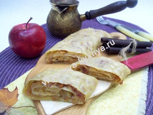 Яблочный штрудель из слоеного теста: пошаговый рецепт с фото