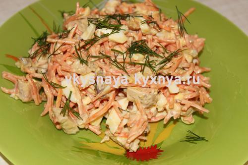 Салат с корейской морковью, курицей и сыром