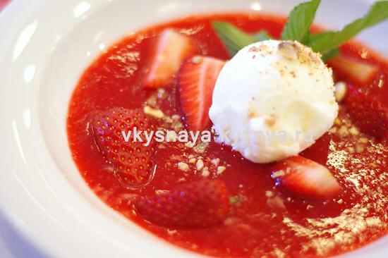Холодный ягодный суп: рецепт с мороженым