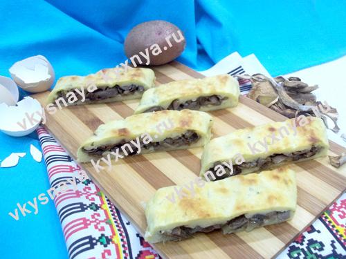Пирог с картофелем и грибами: пошаговый рецепт с фото
