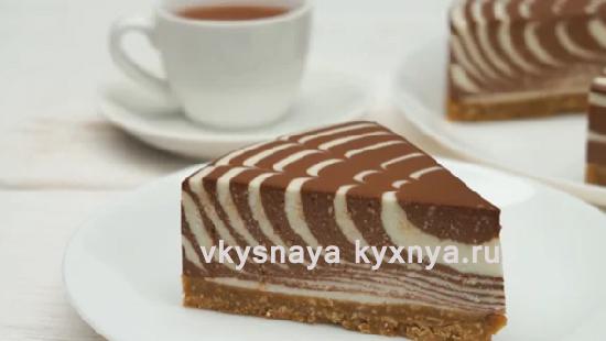 """Творожный торт """"Зебра"""" без выпечки"""