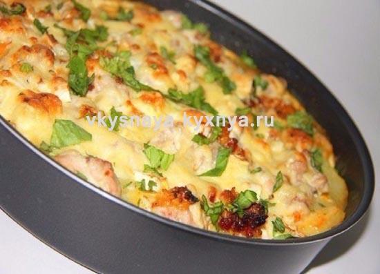 Запеканка с курицей и овощами в духовке