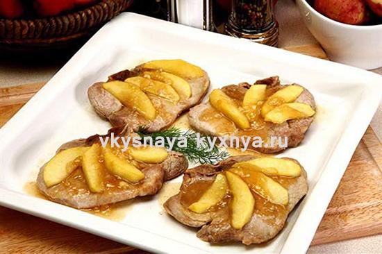 Рецепт свинины с яблоками на сковороде