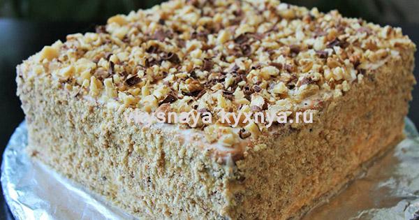 """Самый быстрый и вкусный торт без выпечки из печенья """"Ореховый ковер"""""""