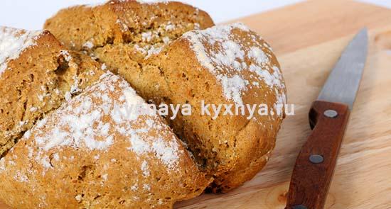 Рецепт домашнего бездрожжевого хлеба в духовке на кефире